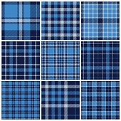 Set of plaid seamless patterns. Blue colors. Vector illustration