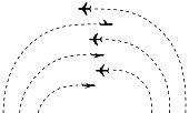 Set of plane icons and their arc tracks