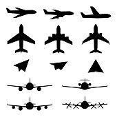 Set of plane icons. Jet airplanes, paper wings. Personal and charter jetliner. Cargo and passenger airliner. Propeller jet