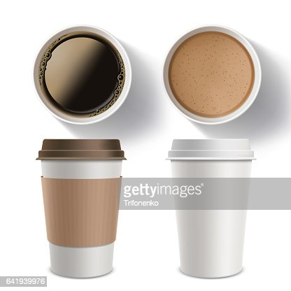 Set of plastic containers of coffee. Isolated mockup on a white background. : stock vector