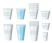 Set of plastic cups. Transparent disposable cups of different sizes. Empty glasses and with water. Vector illustration isolated on white background.