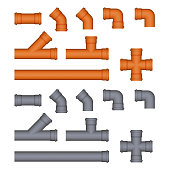 Set of plastic sewer pipes. Vector Image.