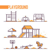 Set of playground elements - modern vector isolated objects on white background in line design style. Sandbox, merry-go-round, slide, swing, horizontal bar, rings, spring rider, jungle gym, seesaw, ba