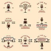 Set of podcast, radio emblems with microphone. Design element for label, sign, badge, poster. Vector illustration