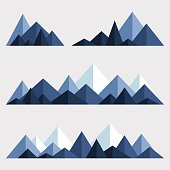 Geometric design elements for illustration of nature. Vector abstract mountains in different colors.
