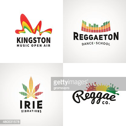 Set of positive ephiopia flag icon. Jamaica reggaeton dance music : Vector Art