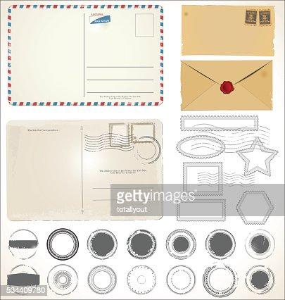 Groupe de Publier timbre illustration vectorielle des symboles : clipart vectoriel