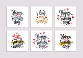 Set of postcards for the Family Day. Calligraphy and lettering. Vector illustration on white background. Elements for design