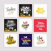 Set of postcards for the Teacher's Day. Calligraphy and lettering. Vector illustration. Great holiday gift card