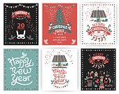 A set of posters or postcards Christmas market, Happy New year and Christmas with festive decor, garlands, gifts, a carousel with horses, Christmas sweets, Christmas trees, socks, gifts, masks.