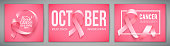 Set of posters with for breast cancer awareness month in october. Realistic pink ribbon symbol. Medical Design. Vector illustration.