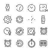 Set of premium time icons in line style. High quality outline symbol collection of clock. Modern linear pictogram pack of period. Stroke vector illustration on a white background.