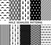 Set of printable vector male seamless patterns. Wrapping paper, wallpaper, fashion print design. Black and white backgrounds. Neckties, mustaches, chevron