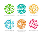 Vector illustration flat design of probiotic bacteria in a circle. Good microorganisms colorful concept isolated on white background.