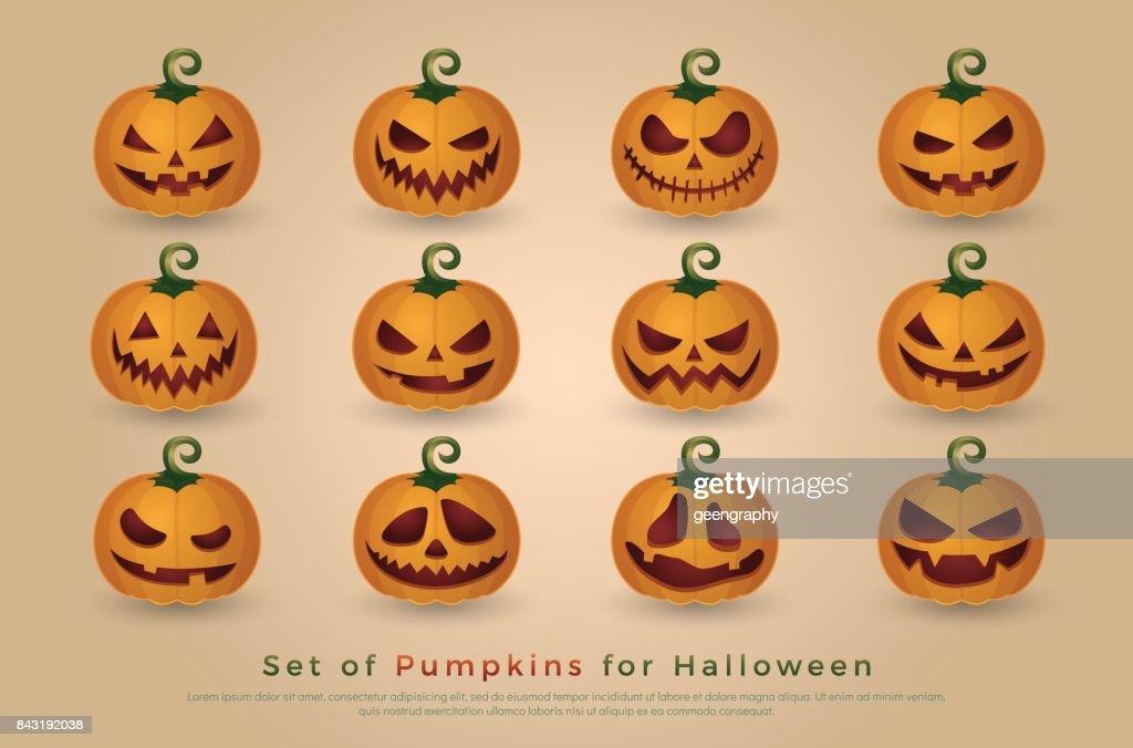 Set De Calabazas Para Halloween Elementos De Diseo Del Halloween
