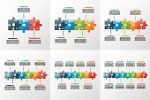Set of vector puzzle style timeline infographic templates with of 3-8 steps, options, parts, processes. Business concept for graphs, charts, diagrams. Vector illustration.