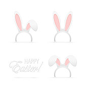 Set of Easter mask with rabbit ears isolated on white background, illustration.