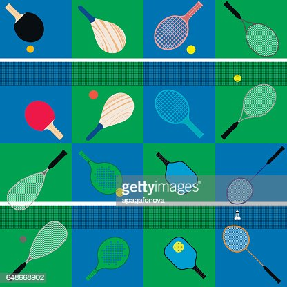 set of rackets and balls : stock vector