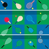 flat vector set of different game rackets, balls and shuttlecock to play to badminton, table and big tennis, beach  and platform tennis, pickleball, squash on court colors backgrounds