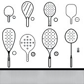 vector icons set of different game rackets, balls and shuttlecock to play to badminton, table and big tennis, beach  and platform tennis, pickleball, squash on white isolated backgrounds