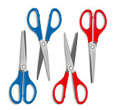 Set of Realistic 3d Blue and Red Plastic Scissors for Cutting and for School and Office Items Isolated in White Background. Vector Illustration