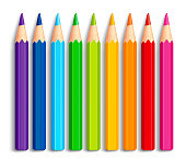 Set of Realistic 3D Multicolor Colored Pencils or Crayons Isolated in White Background for Back to School Items. Vector Illustration
