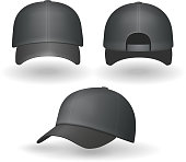Set of realistic black baseball caps isolated on white background. Vector illustration