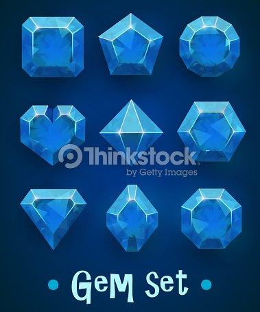860f1bd2e9e6 Conjunto de joyas azul realista de varias formas. Colección zafiro.  Elementos para la decoración