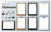 Set of realistic clipboards , vector, illustration