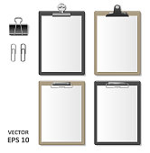 Set of Realistic clipboards with blank white paper sheet. Notepad information board Template for corporate identity. Black and brown wooden Clipboard. vector illustration EPS 10.