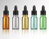 Set of realistic glass bottles