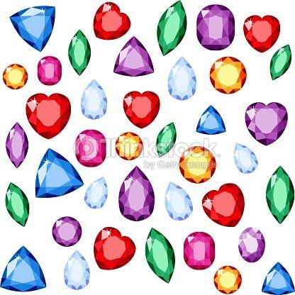 c6191ef68579 Conjunto de joyas realistas. Piedras preciosas coloridas. Vector  ilustración de la piedra preciosa