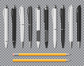 Set of Realistic office Elegant pens and pencil isolated on transparent background. Office Blank white and black Ball Pens. Vector illustration EPS 10