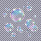 Set of realistic transparent colorful soap  bubbles with rainbow reflection isolated on checkered background. Vector texture.