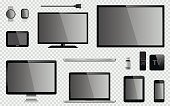 Set of realistic TV, computer monitor, laptops, tablet, mobile phone, smart watch, usb flash drive, TV box receiver, GPS navigation system device and electric plug. Isolated on transparent background.