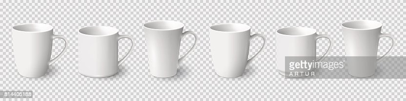 Set of realistic white coffee mugs isolated on transparent background : stock vector