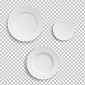Set of realistic white plates on transparent background - vector