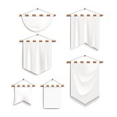 Set of realistic white textile banners with folds end shaft. Banners templates