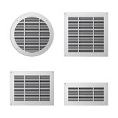 A set of rectangular and circular ventilation grilles. Exhaust and supply ventilation system. Vector illustration.