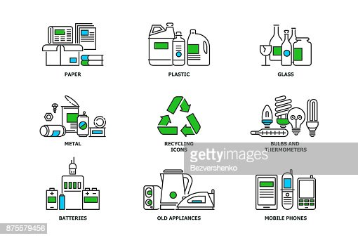 Set of recycling icons in line design. Recycle vector flat illustrations. Waste paper, metal, plastic, glass, bulbs, e-waste, mobiles and appliances icons isolated on while background stock vector : stock vector