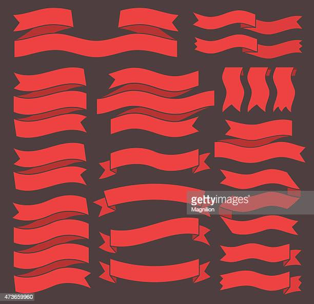 Set of red label ribbons on black background