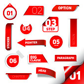 Set of red vector progress step icons, version, labels, stamps, stickers, corners, tags - vector