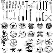 Set of repair, service workshop labels and design elements. Vector elements for label, emblem, badge, sign.