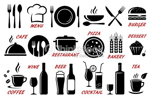 set of restaurant, cafe icons silhouettes : stock vector
