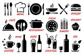set of restaurant, cafe icons with utensil, cutlery, food and alcohol