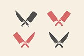 Set of restaurant knives icons. Silhouette two butcher knives - Cleaver and Chef Knives. icon template for meat business - farmer shop, market or design - label, banner, sticker. Vector Illustration