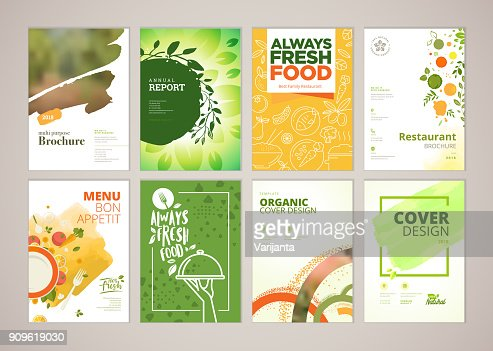 Set of restaurant menu, brochure, flyer design templates in A4 size : Vector Art