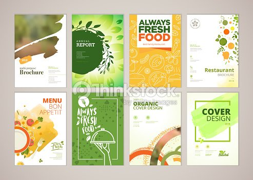 レストランのメニューのパンフレット、A4 サイズのチラシ デザイン テンプレートの設定 : ベクトルアート