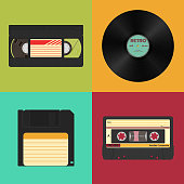Set of retro audio, video and data storage on a colored vintage background. Audio, video cassettes, vinyl record and 3.5 inches floppy diskette. Vector illustration.