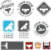Set of retro carpet cleaning labels, emblems and design elements.